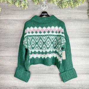 FREE PEOPLE NWT Spearmint Pine Alpine Knit Sweater